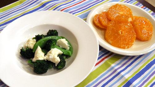 野菜のオリーブオイル蒸し オレンジサラダ