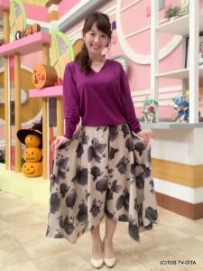 田中愛佳アナウンサー 衣装協力:Pate * bloom garden(ゆめタウン別府2F) 【コーディネートのポイント☆】 きょうのポイントは、スカンツ。両サイドが長めの変型デザインです。スカートのように見えるパンツ「スカンツ」は、幅広い年齢層の方が楽しめるアイテムですよ! 歩くたびになびく裾がとてもエレガント。ぼかしフラワーのプリントが施されていて、フェミニンで優しい印象を演出してくれます。