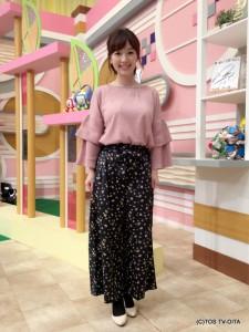 田中愛佳アナウンサー 衣装協力:E hyphen world gallery(トキハわさだタウン2階) 【コーディネートのポイント☆】 レトロなスモールフラワーをちりばめた、クラシカルフェミニンなワイドパンツ。 リボンベルトが愛らしく、ピンク色のニットと相性ばっちりです♪